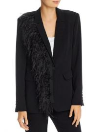 Cinq  amp agrave  Sept Portia Single-Breasted Feather Trim Blazer Women - Bloomingdale s at Bloomingdales