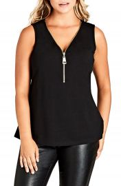 City Chic Sleeveless Zip Top  Plus Size at Nordstrom