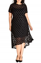 City Chic Spot Flock Dress  Plus Size at Nordstrom