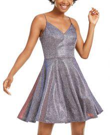 City Studios Juniors  Glitter Fit   Flare Dress   Reviews - Dresses - Juniors - Macy s at Macys