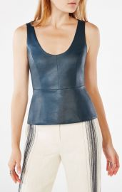 Cladiana Faux-Leather Peplum Top at Bcbg