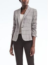 Classic-Fit Lightweight Wool Windowpane Blazer at Banana Republic