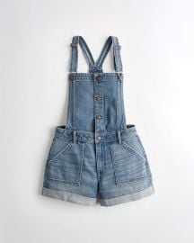 Classic Stretch High-Rise Denim Mom Short Overall at Hollister