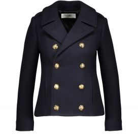 Classic cropped woollen pea coat at 24s