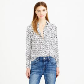 Classic silk blouse in key print at J. Crew