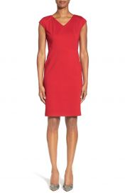 Classiques Entier Seamed Italian Sheath Dress in Red at Nordstrom