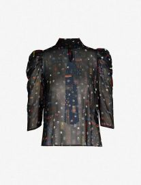 Claudie Pierlot Borisal Badges-print Chiffon Top at Selfridges
