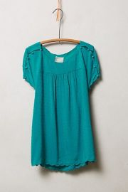 Clipdot Buttoned Tee in Green at Anthropologie