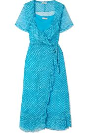 Cloe Cassandro   Kimi printed silk-crepon wrap midi dress at Net A Porter