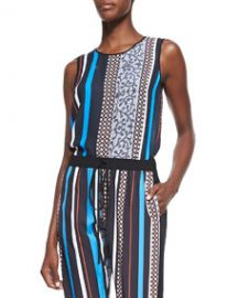 Clover Canyon Library Striped Jersey Sleeveless Top at Neiman Marcus