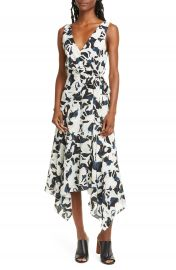 Club Monaco Abstract Print Faux Wrap Handkerchief Hem Silk Dress   Nordstrom at Nordstrom