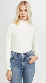 Club Monaco Cable Front Mock Neck Sweater at Shopbop