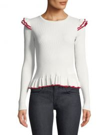 Club Monaco Skarlier Ribbed Ruffle Sweater   Neiman Marcus at Neiman Marcus