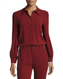 Co Classic Puff-Sleeve Crepe Blouse at Neiman Marcus