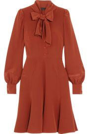 Co   Pussy-bow silk crepe de chine dress at Net A Porter