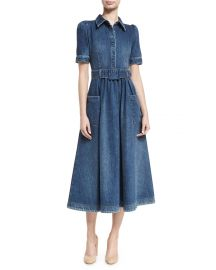 Co Belted Denim Midi Shirtdress   Neiman Marcus at Neiman Marcus