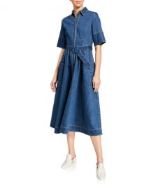 Co Belted Denim Midi Shirtdress at Neiman Marcus