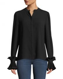 Co Button-Front Plisse Pleated Cuff Crepe Blouse at Neiman Marcus