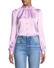 Co Cinched-Neck Long-Sleeve Satin Blouse at Neiman Marcus