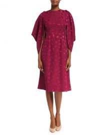 Co Cocoon-Sleeve Mosaic Jacquard Midi Dress   Neiman Marcus at Neiman Marcus