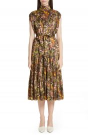 Co Floral High Neck Silk Dress   Nordstrom at Nordstrom