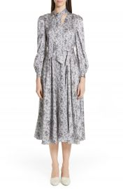 Co Floral Print Tie Neck Silk Dress at Nordstrom