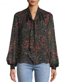 Co Long-Sleeve Tie-Neck Floral-Print Silk Chiffon Blouse at Neiman Marcus