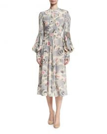 Co Mum-Print Silk Bishop-Sleeve Keyhole Midi Dress at Neiman Marcus