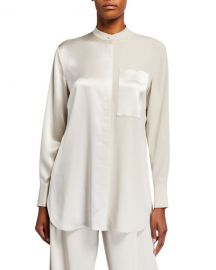 Co Satin  amp  Georgette Banded Neck Shirt at Neiman Marcus