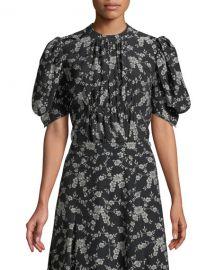 Co Short Balloon Sleeve Floral-Print Gabardine Blouse at Neiman Marcus