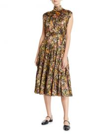 Co Sleeveless Mock-Neck Floral Silk Dress at Neiman Marcus