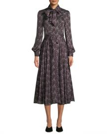 Co Tie-Collar Long-Sleeve Silk Midi Dress at Neiman Marcus