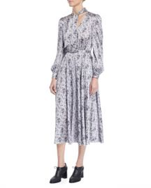 Co Tie-Neck Long-Sleeve Floral-Print Silk Charmeuse Midi Dress at Neiman Marcus