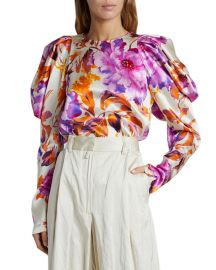 Coal Puff-Sleeve Floral Satin Top at Neiman Marcus