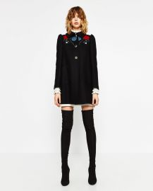 Coat with Embroidered Yoke at Zara