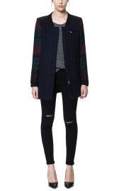 Coat with Jacquard Sleeves at Zara