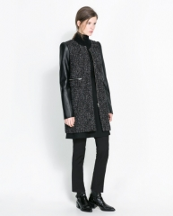 Coat with leather sleeves at Zara