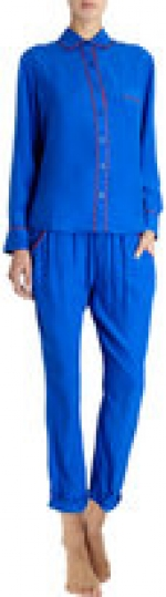 Cobalt blue silk pajamas with red trim at Barneys