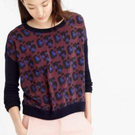 Cobalt leopard sweater at J. Crew