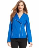 Cobalt moto jacket by Calvin Klein at Macys