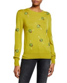 Cocktail Olives Crewneck Cashmere Sweater by Libertine at Bergdorf Goodman