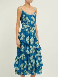 Coco orchid and leopard-print crepe midi dress at Matches