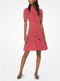 Coin Dot Silk-Georgette Tie-Neck Dress at Michael Kors