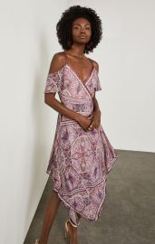 Cold-Shoulder Festival Paisley Wrap Dress at Bcbg