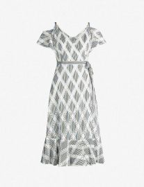 Cold-Shoulder Lace-Panel Twill Dress by Sandro at Selfridges