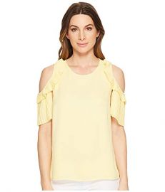 Cold Shoulder Pleated Blouse at Zappos