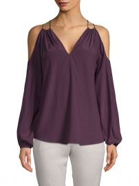 Cold-Shoulder Stretch Silk Blouse by Ramy Brook at Gilt