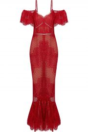 Cold-shoulder fluted lace Gown by Marchesa Notte at The Outnet