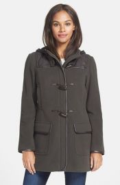 Cole Haan Faux Leather Trim Wool andamp Cashmere Blend Hooded Duffle Coat at Nordstrom
