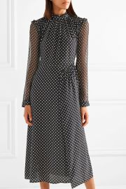 Colette ruffled printed silk midi dress by Markus Lupfer at Net A Porter